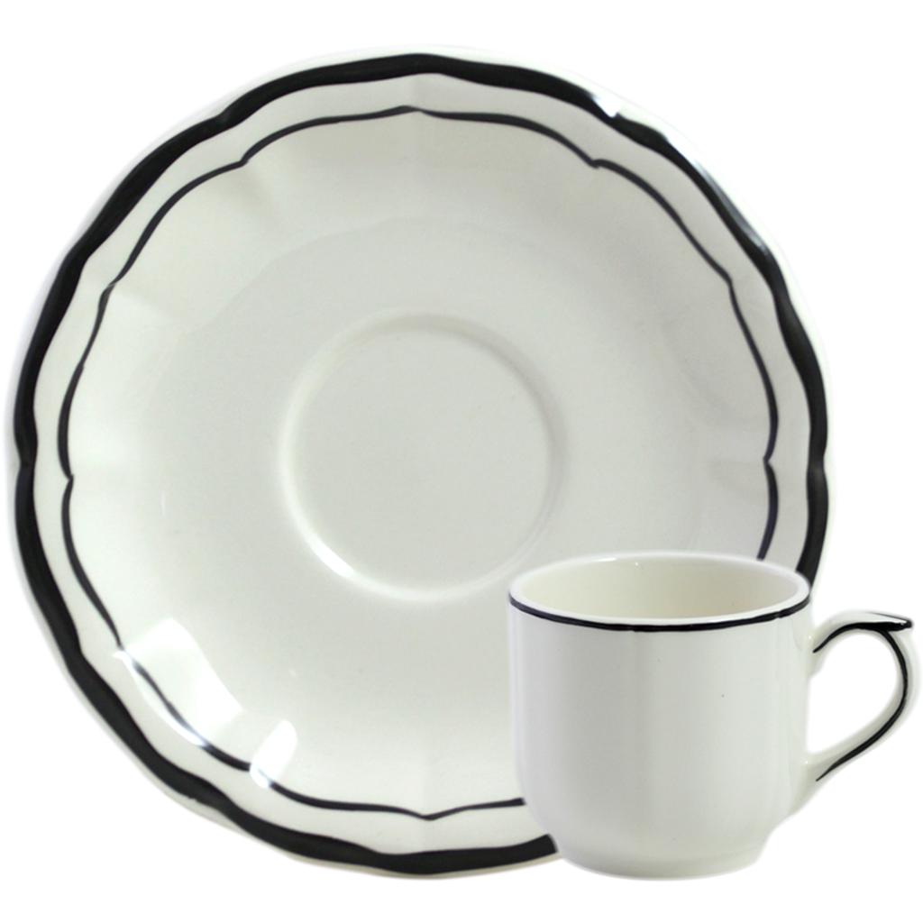 2 tasses et soucoupes cafe FILET MANGANESE diam 13 cl H 5.7 cm