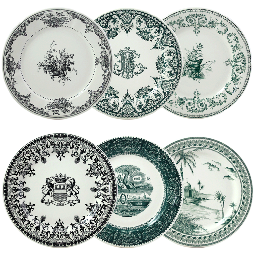 6 Assiettes Plates  assorties LES DEPAREILLEES diam 27.4cm