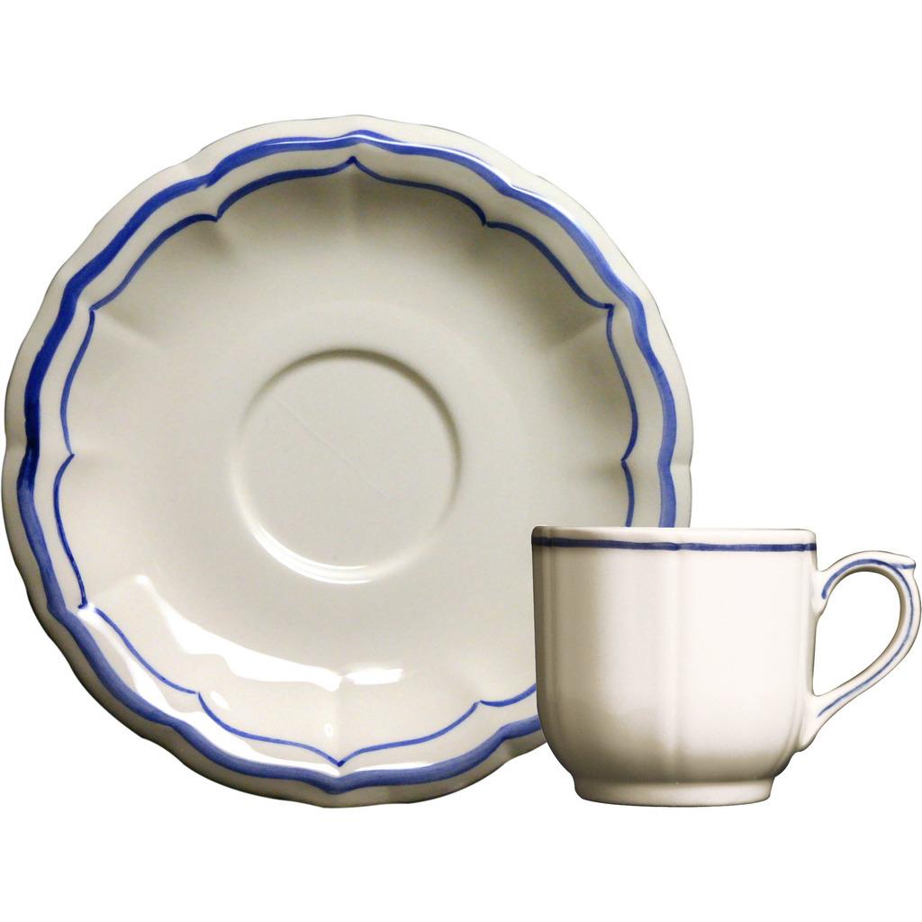 2 tasses et soucoupes cafe FILET BLEU diam 13 cl H 5.7 cm