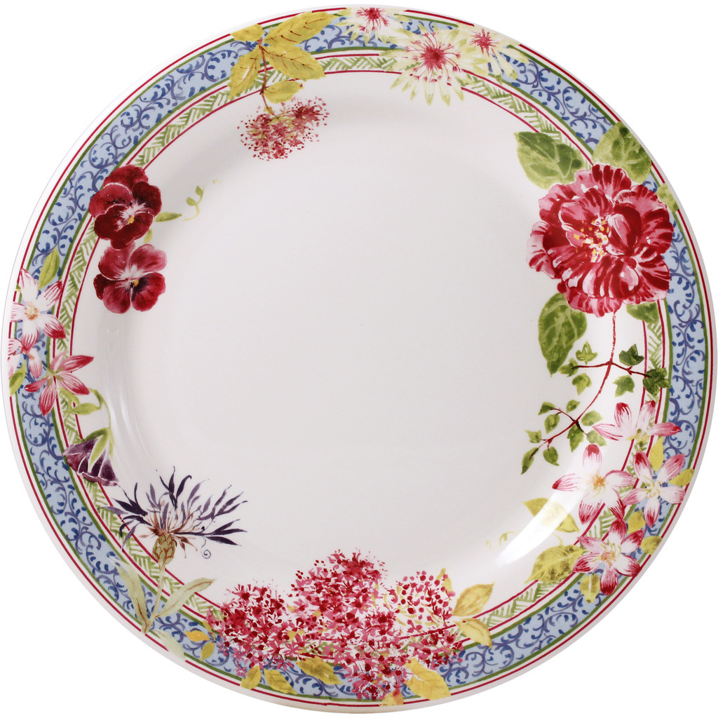4 Assiettes Plates MILLE FLEURS - 27,5 cm diametre