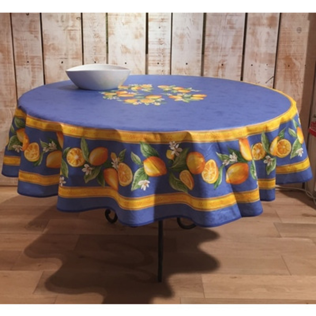 70 Inch Round Table Cloth.Round Tablecloth Cotton Blue Lemon 70 Inches