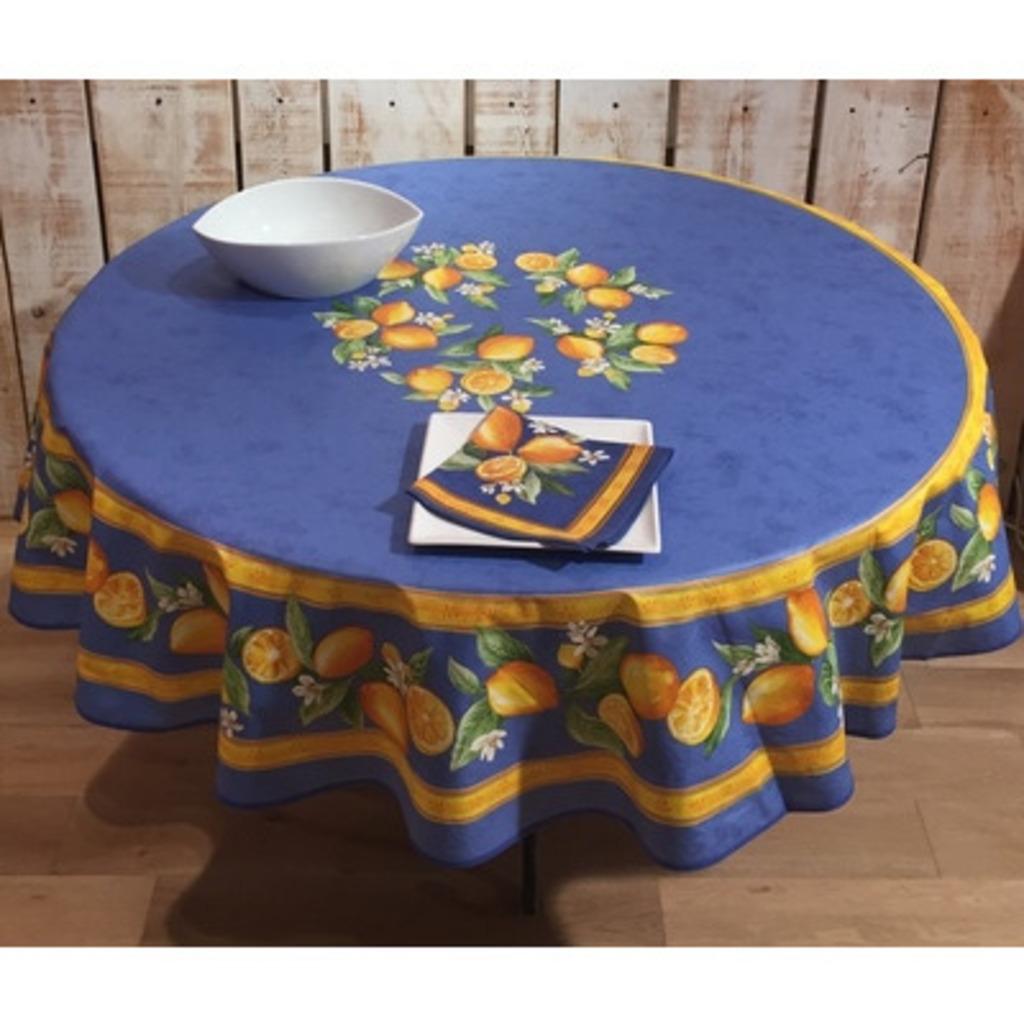 frenchictoyou le tissu provencal nappe ronde 180 citron bleu enduit. Black Bedroom Furniture Sets. Home Design Ideas