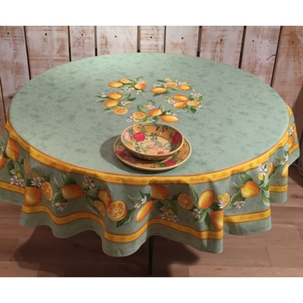 ROUND TABLECLOTH COTTON GREEN LEMON 70 Inches
