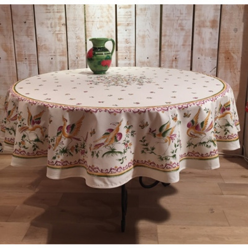 70 Inch Round Table Cloth.Round Tablecloth Cotton Moustiers Rose 70 Inches