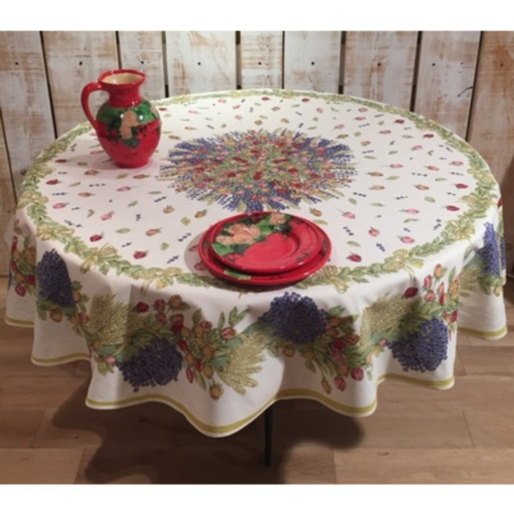 70 Inch Round Table Cloth.Round Tablecloth Cotton Rose And Lavander 70 Inches