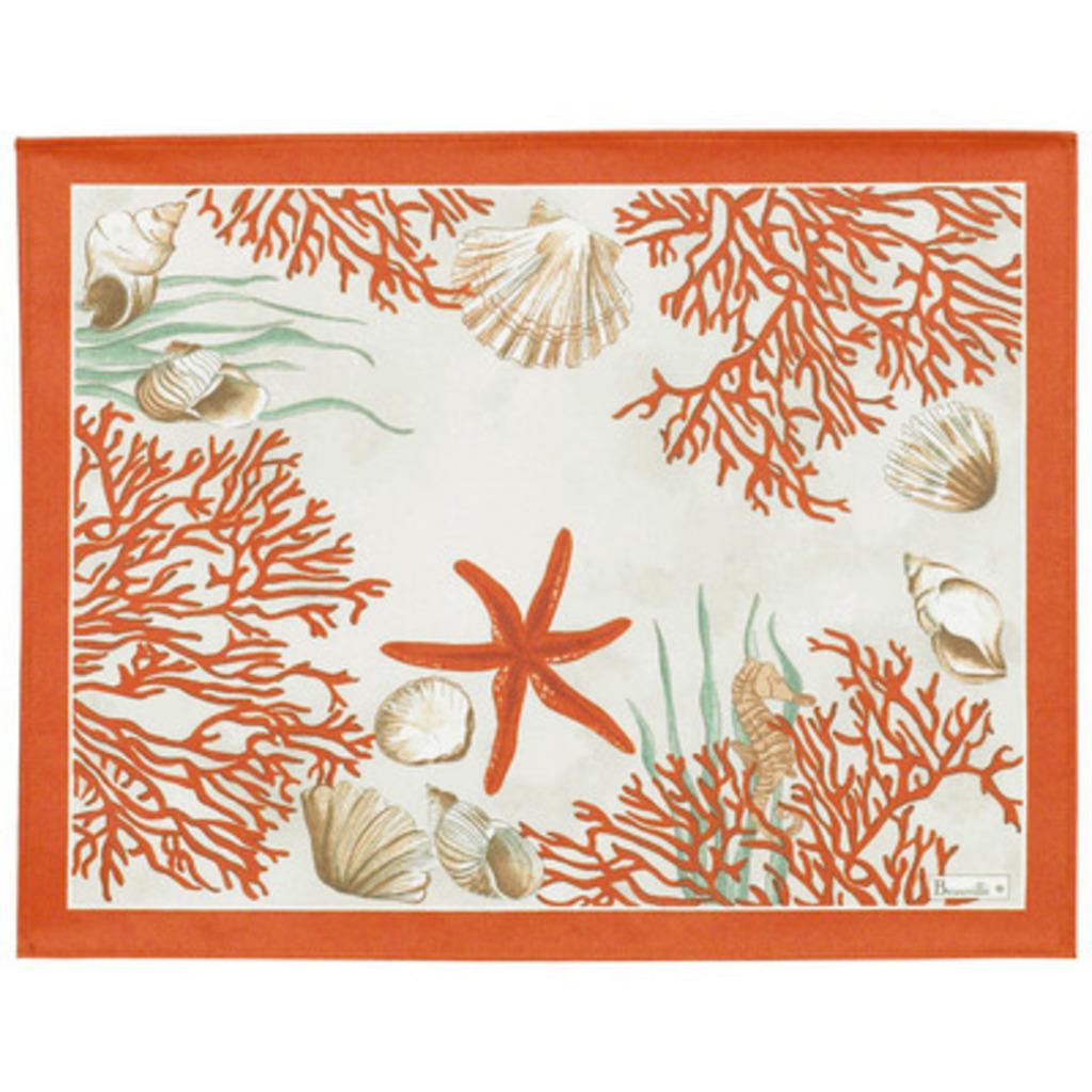 Set de table Corail rouge coton enduit 40*50