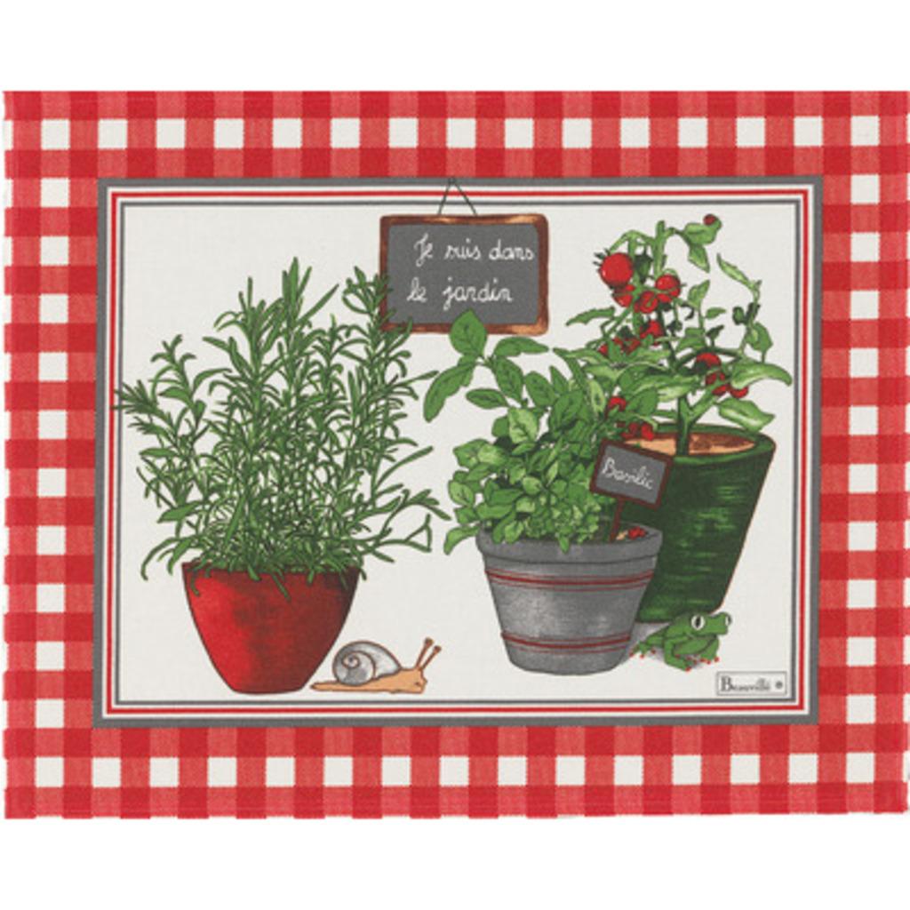Set coton enduit Potager rouge 38*48