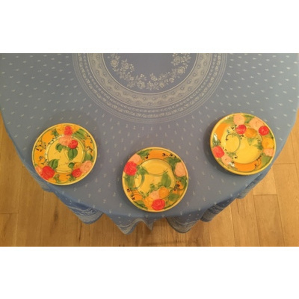 Blue Round Tablecloth Durance 90 Inches