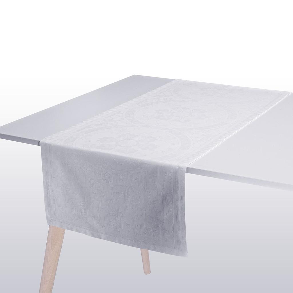 CHEMIN DE TABLE DUCHESSE BLANC 55*150 cm/22*59 inches